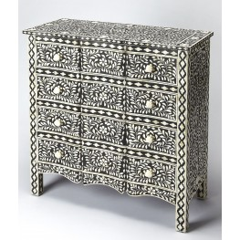 "Bone Inlay 45"" Black Drawer Chest"