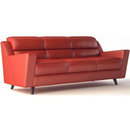 Lucia Brick Red Leather Sofa