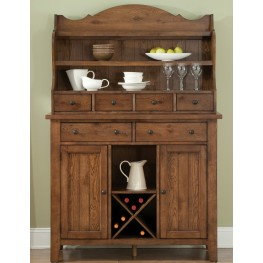 Hearthstone Rustic Oak Server with Hutch