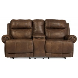 Austere Brown Double Reclining Loveseat with Console