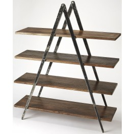 Industrial Chic Scissors Iron and Wood Etagere
