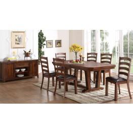 Lanesboro Distressed Walnut Extendable Dining Room Set