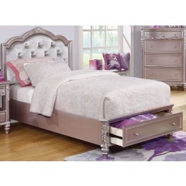 Caroline Metallic Lilac Full Storage Platform Bed