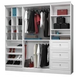 Versatile White 86'' Storage Wardrobe