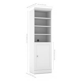Versatile White 25'' Door Storage Bookcase