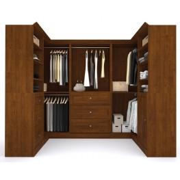 Versatile Tuscany Brown 108'' Corner Storage Wardrobe