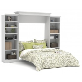 Versatile White 115'' Two Sided Storage Queen Wall Bed