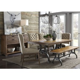 Arlington House Cobblestone Brown Trestle Dining Room Set