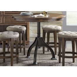 Arlington House Cobblestone Brown Round Counter Height Gathering Dining Room Set