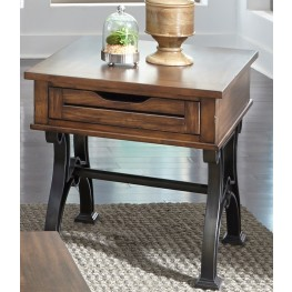 Arlington House Cobblestone Brown Drawer End Table