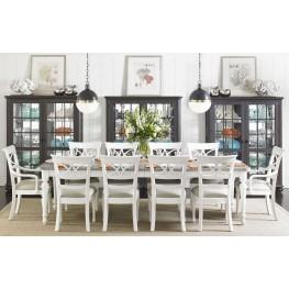 Coastal Living Retreat Saltbox White Rectangular Leg Extendable Dining Room Set