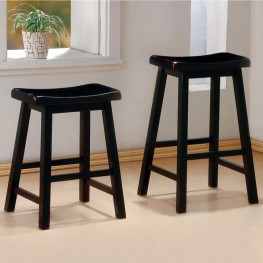 Black Finish Counter Height Stool Set of 2 - 180019