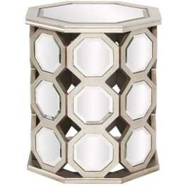 Mirrored Hexagon Wood Short Table