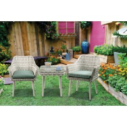 Tashay Beige Wicker 3 Piece Patio Bistro Set · By ACME Furniture