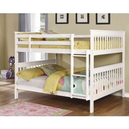 White Full over Full Bunk Bed