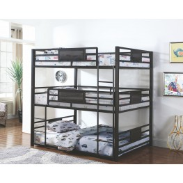 Rogen Gunmetal Full Triple Bunk Bed