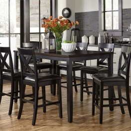Ordinaire Thornton II Black And Brown 7 Piece Counter Height Dining Set