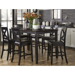thornton ii black and brown 7 piece counter height dining set