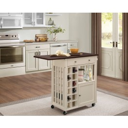 Canela Cream Drop Leaf Kitchen Cart