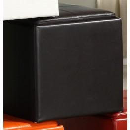Ladd Storage Cube Ottoman, Brown Bi-Cast Vinyl