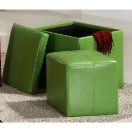 Ladd Storage Cube Ottoman, Green Bi-Cast Vinyl