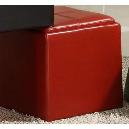 Ladd Storage Cube Ottoman, Red Bi-Cast Vinyl