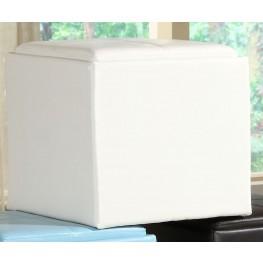 Ladd Storage Cube Ottoman, White Bi-Cast Vinyl