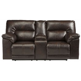 Barrettsville DuraBlend Chocolate Double Reclining Console Loveseat