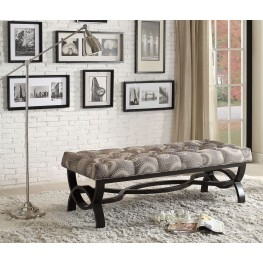 Marlena Grey Medallion Fabric Bench