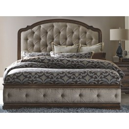 Amelia Antique Toffee King Upholstered Mansion Bed