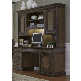 Amelia Antique Toffee Jr Executive Credenza With Hutch