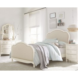 Harmony Antique Linen White Youth Victoria Upholstered Panel Bedroom Set