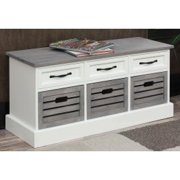 Weathered Grey and White Storage Bench