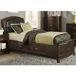 Avalon Truffle Twin One Sided Leather Storage Bed