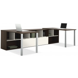 Contempo Tuxedo & Sandstone Two L-Shaped Desks Set Metal legs