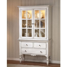 Hollyhock Distressed white Buffet With Hutch