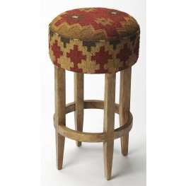 Mountain Lodge Las Cruces Kilim Pouffe Bar Stool