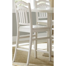 Summerhill Rubbed Linen White Slat Back Counter Chair Set of 2