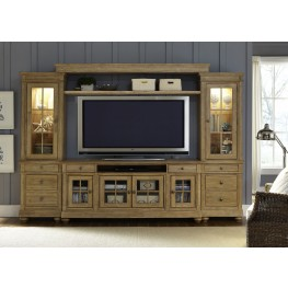 """Harbor View Sand Entertainment Wall with 74"""" TV Console"""