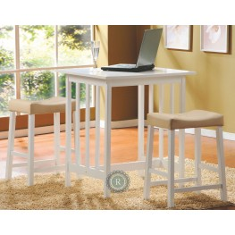 Scottsdale White 3-Piece Pack Counter Height Set