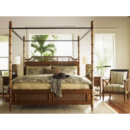 Island Estate Plantation Brown West Indies Canopy Bedroom Set