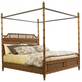 Island Estate Plantation Brown West Indies Cal. King Canopy Bed