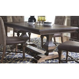 Lucca Brown Double Pedestal Dining Table