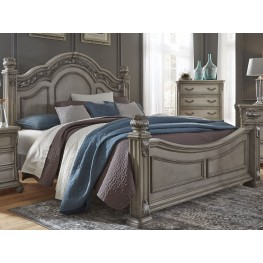 Messina Estates Gray Queen Poster Bed
