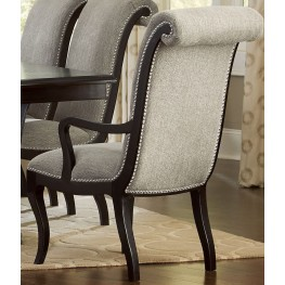 Savion Espresso Natural Tone Arm Chair Set of 2