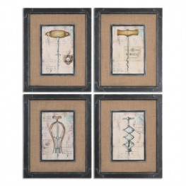 Antique Corkscrews Vintage Art Set of 4