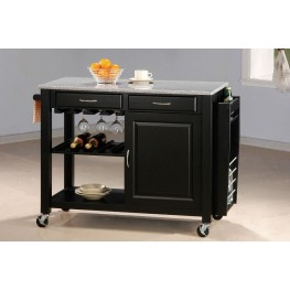 Black Kitchen Island (Granite Top) 5870