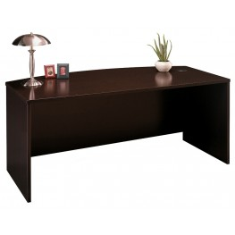 Series C Mocha Cherry 72 Inch Bow Front Desk Shell