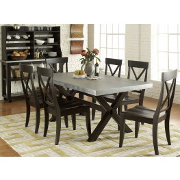 Keaton II Charcoal Trestle Dining Room Set