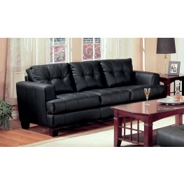 Samuel Black Leather Sofa - 501681